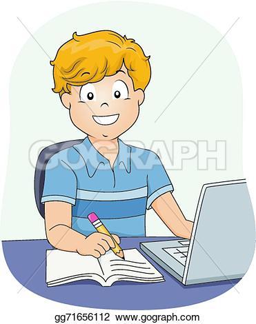 Boy turning in assignment clipart banner transparent download Vector Art - Boy doing homework. Clipart Drawing gg71656112 - GoGraph banner transparent download