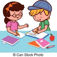 Boy turning in assignment clipart clipart transparent Vector Clipart of Boy Doing Homework - Illustration Featuring a ... clipart transparent