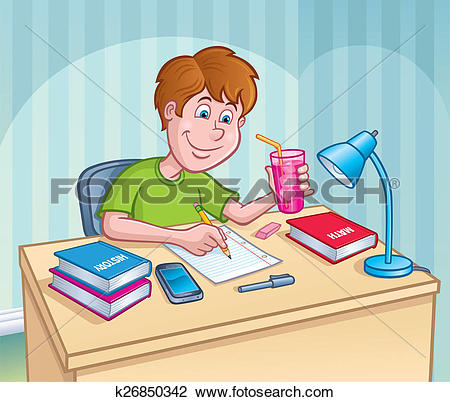 Boy turning in assignment clipart black and white Clip Art of Boy Working On homework Assignment k26850342 - Search ... black and white