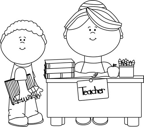 Boy turning in assignment to teacher clipart black and white picture transparent Boy teacher clipart in black and white - ClipartFest picture transparent
