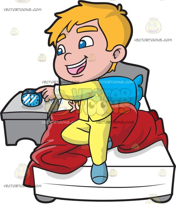 Boy turning lights off clipart graphic library stock A Young Boy Turning Off His Alarm | Clock, Blue pillows and Blue socks graphic library stock