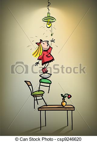 Boy turning lights off clipart picture free library Vector Clipart of a little girl trying to turn off the lights ... picture free library