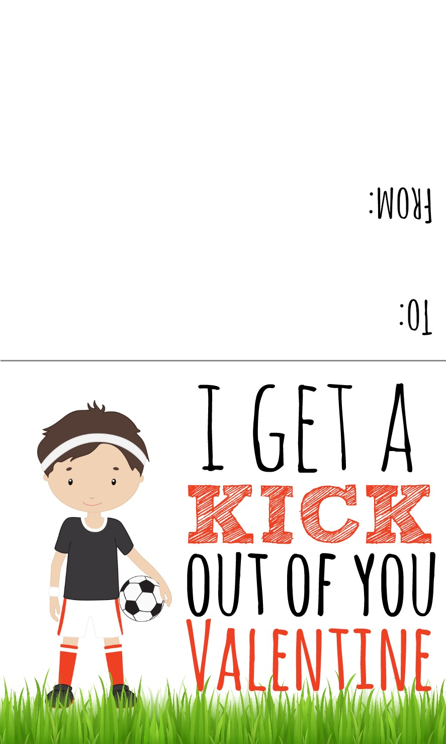 Boy valentine soccer clipart image black and white Sports Valentines Printables - Candy Free Valentine Ideas image black and white