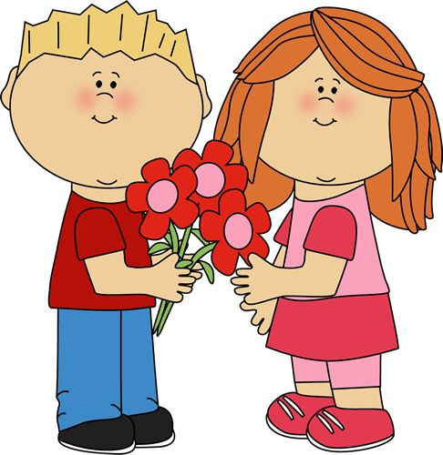 Boy valentine soccer clipart clip Kids with Valentine's Day Flowers | ❤ Valentine's Day ... clip