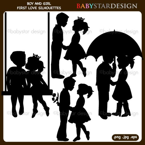 Boy valentine soccer clipart picture Boy and Girl First Love Silhouettes Clipart - Great for ... picture