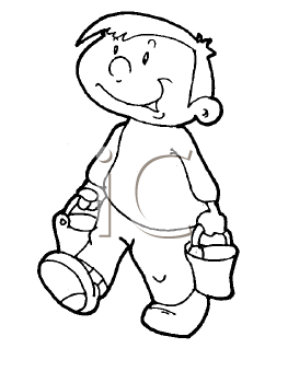 Walking clipart black and white image free download Royalty Free Clipart Image of a Boy Walking With Two Pails ... image free download