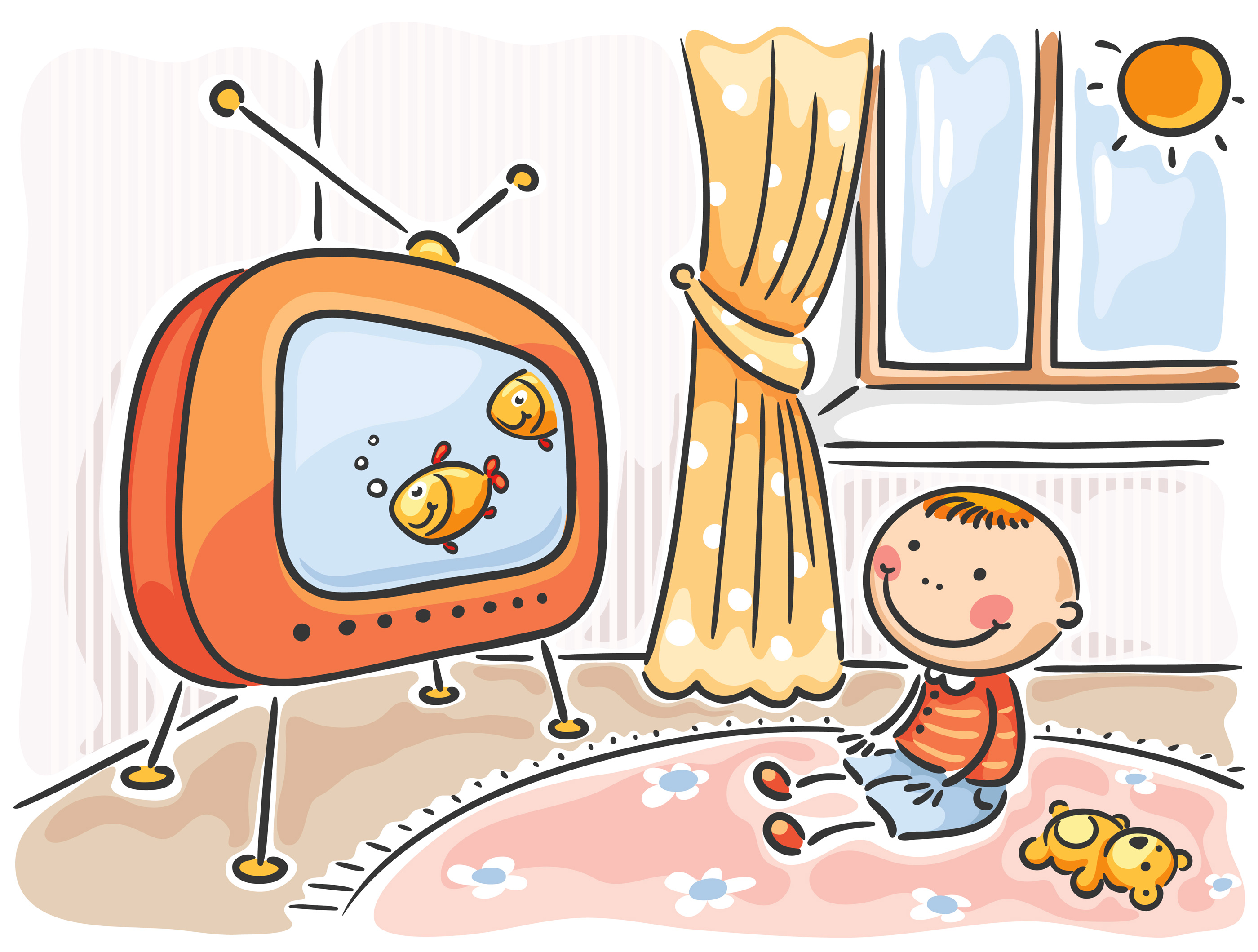 Mom and kids watching tv clipart