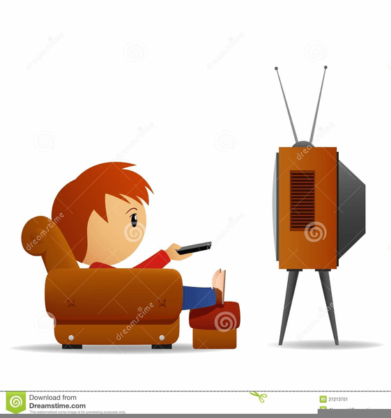 Boy watching tv clipart