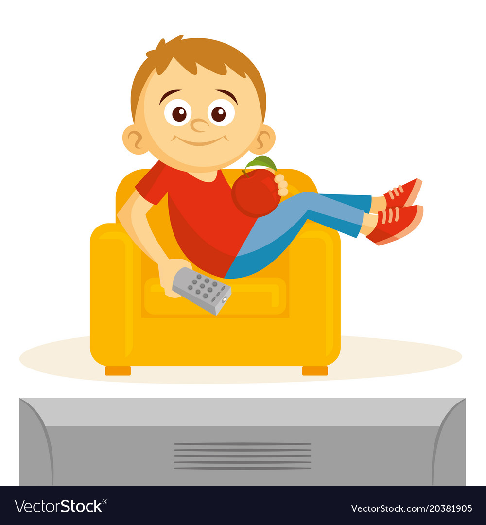 Watching tv clipart free vector png library stock Boy is watching tv png library stock