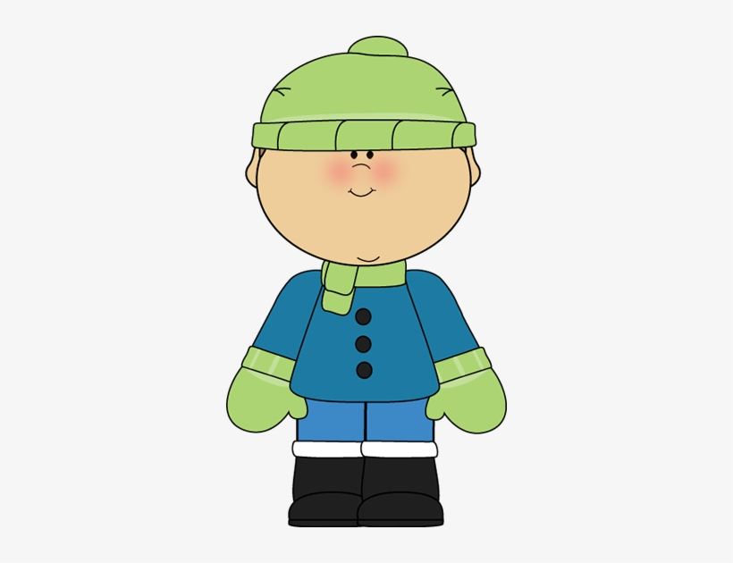 Boy wearing mittens clipart banner royalty free download In A Green Scarf Cap Gloves Blue Winter Coat And Snow - Winter Boy ... banner royalty free download