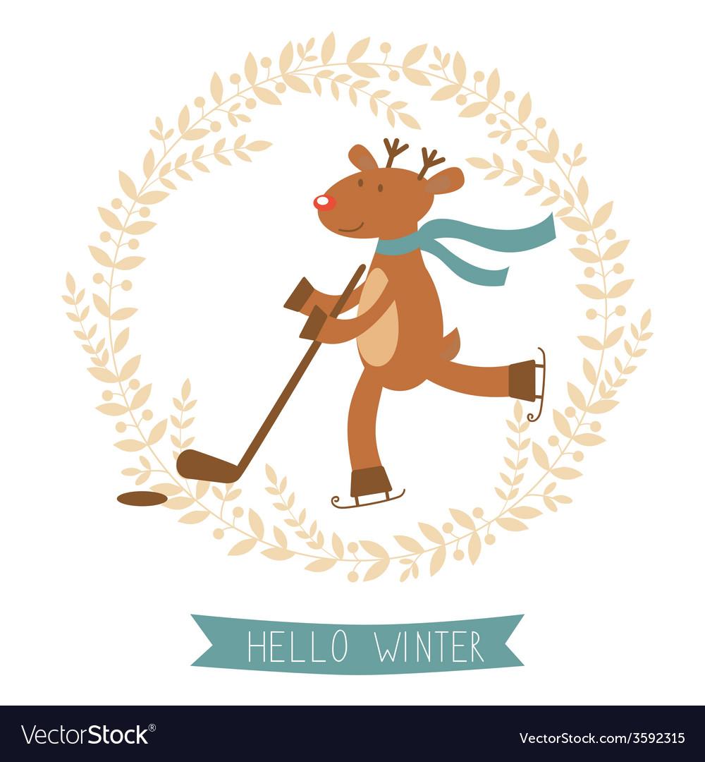 Boy winter deer clipart stock Hello winter card with cute deer boy ice skating stock