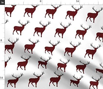 Boy winter deer clipart clipart freeuse download Amazon.com: Spoonflower Woodland Plaid Deer Fabric - Christmas Plaid ... clipart freeuse download