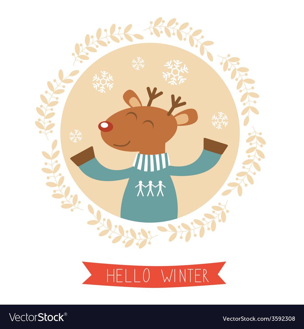 Boy winter deer clipart graphic free Hello winter card with cute deer boy portrait graphic free