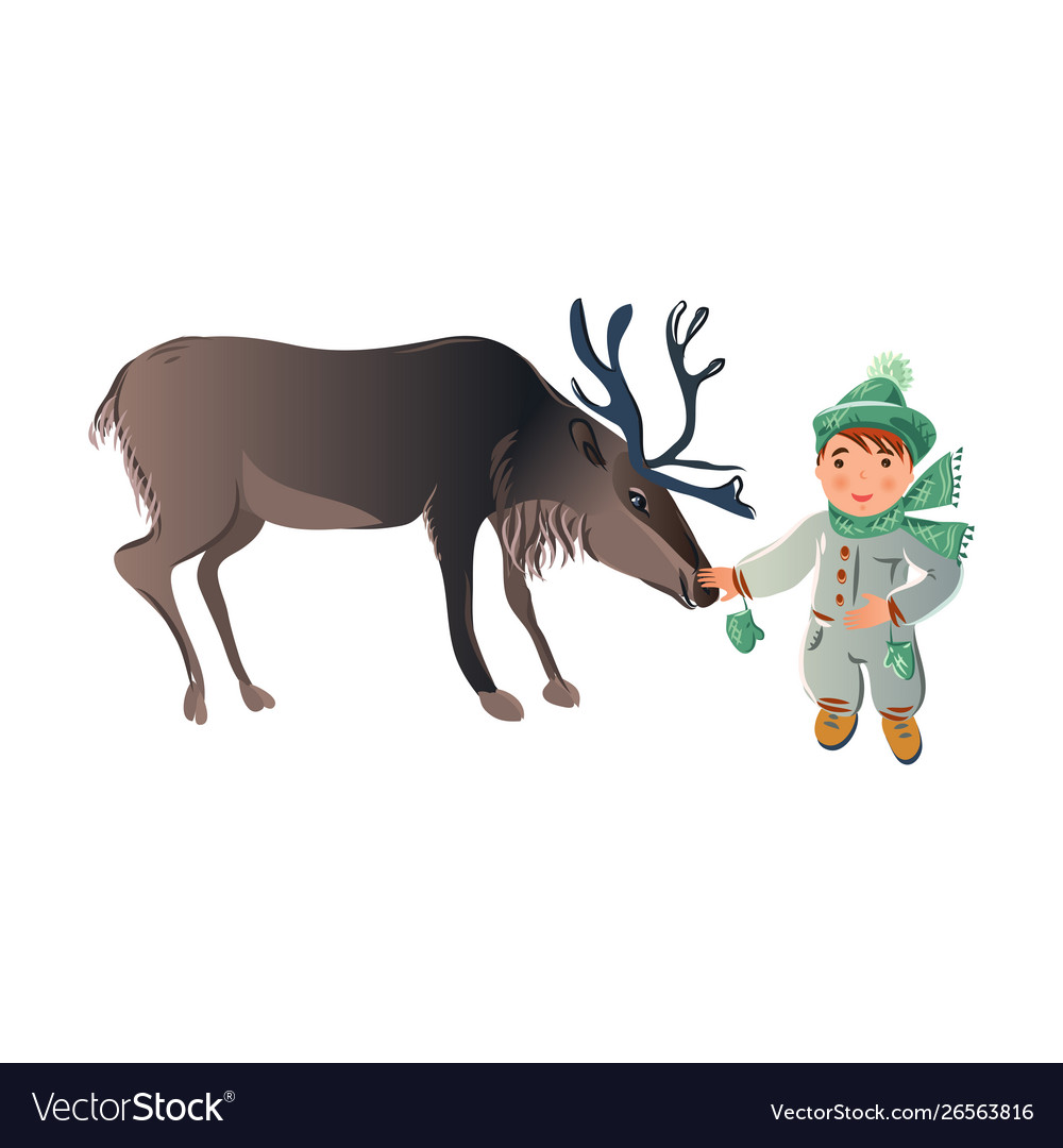 Boy winter deer clipart picture black and white library Cute boy in winter clothes with scarf taking care vector image picture black and white library