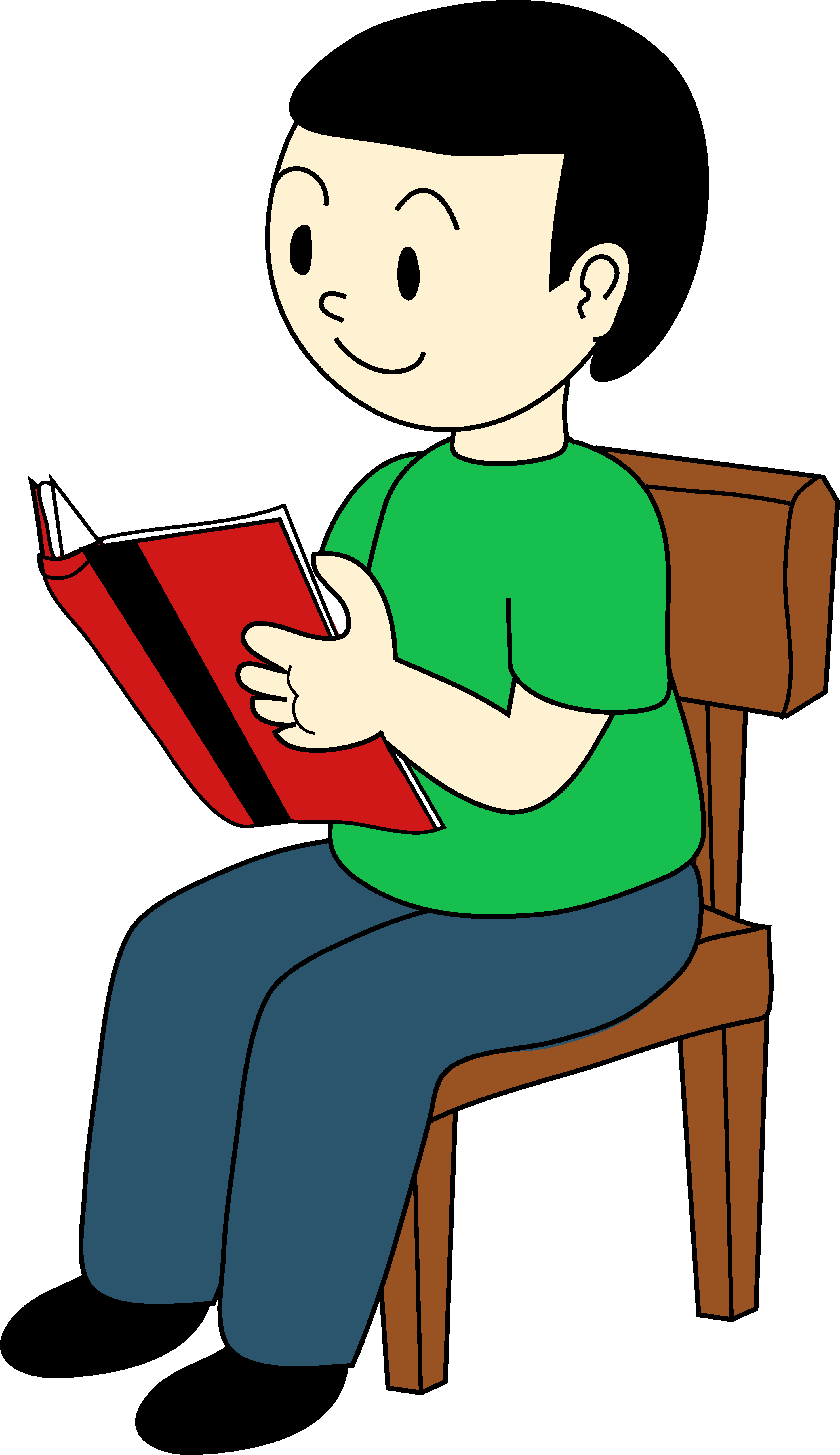 Boy with book clipart banner black and white download Boy sitting on a chair and reading a book clipart free image banner black and white download