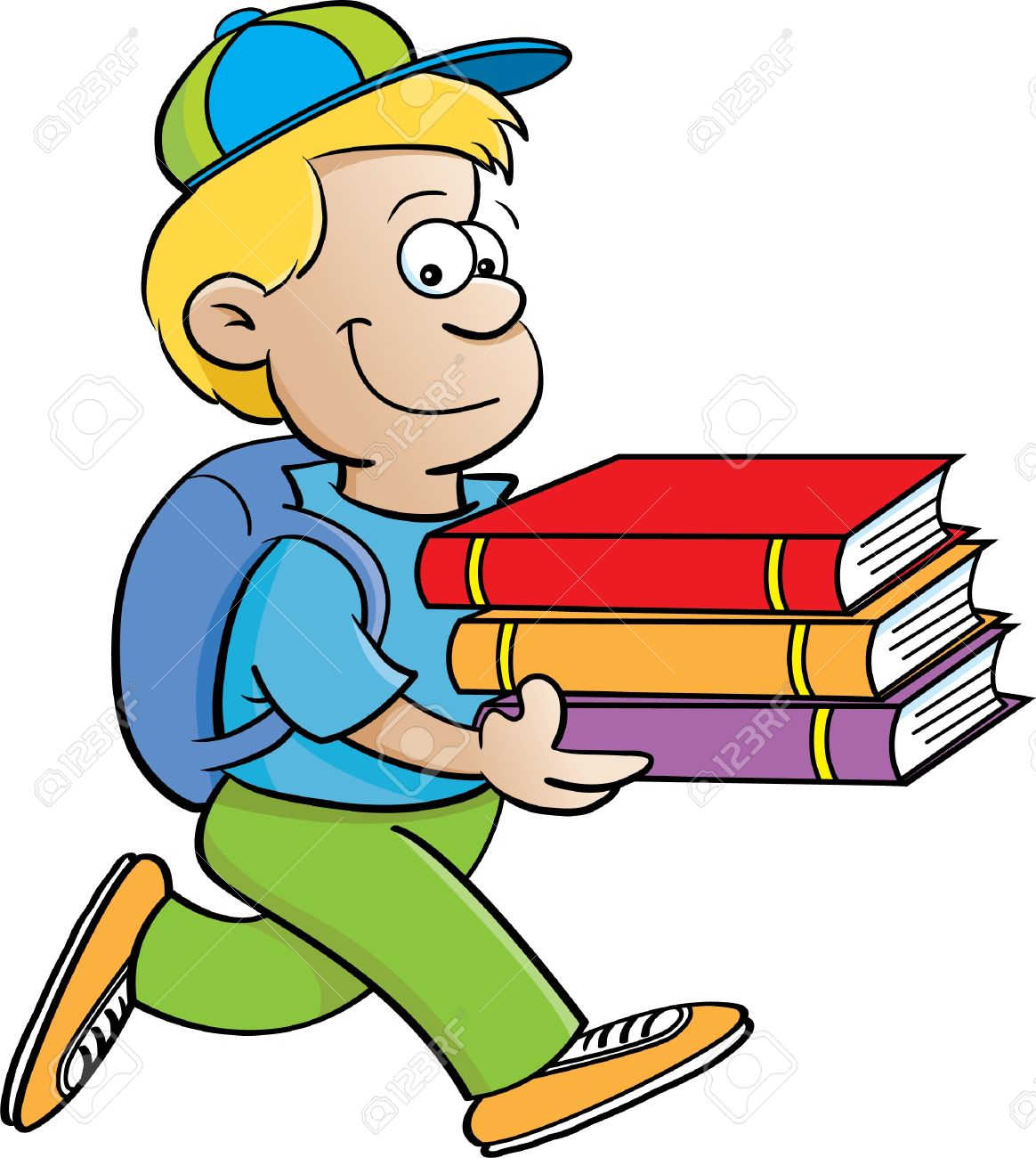 Boy with books clipart. Carrying clipartfest of a