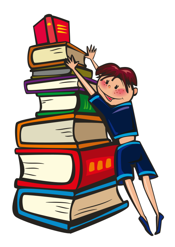 Book pile clipart svg free library Boy with books clipart - ClipartFest svg free library