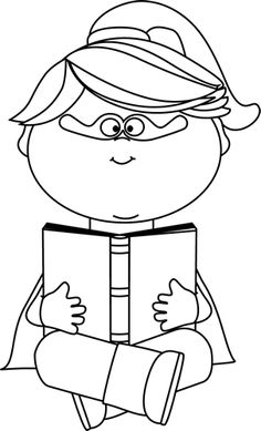 Boy with glasses reading clipart black and white png transparent stock Free Superhero Reading Cliparts, Download Free Clip Art, Free Clip ... png transparent stock