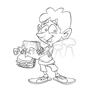 Boy with lunch clipart black and white image free download black and white image of boy eating a sandwich sandwish negro clipart.  Royalty-free clipart # 393995 image free download