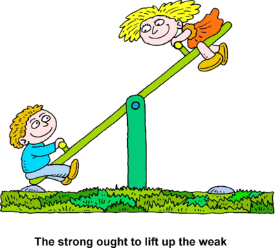 Boys seesaw clipart png black and white Image: Boy and girl on seesaw - The strong ought to lift up the weak ... png black and white