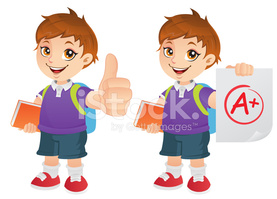 Boy with thumbs up clipart royalty free download Cute School Boy Showing Thumbs UP and Good Grades stock vectors ... royalty free download