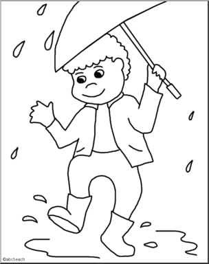 Boy with umbrella clipart black and white png black and white stock Clip Art: Kids: Boy w/ Umbrella B&W I abcteach.com | abcteach png black and white stock