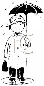 Boy with umbrella clipart black and white banner black and white stock Black and White Child Standing In Rain with an Umbrella - Clipart banner black and white stock
