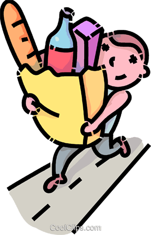 Boys carring bags clipart download boy carrying a bag of groceries Royalty Free Vector Clip Art ... download