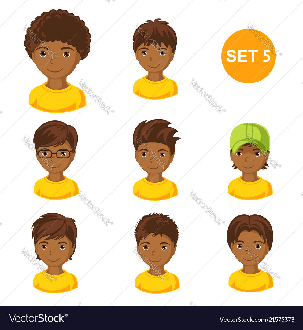 Boys hair style clipart clip art transparent library Cute little african boys with various hair style clip art transparent library