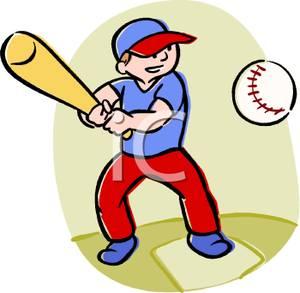 Boys playing baseball clipart