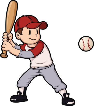 Boys playing baseball clipart vector library Cartoon boy playing baseball. Baseball and character on separate ... vector library