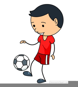 Boys playing soccer clipart