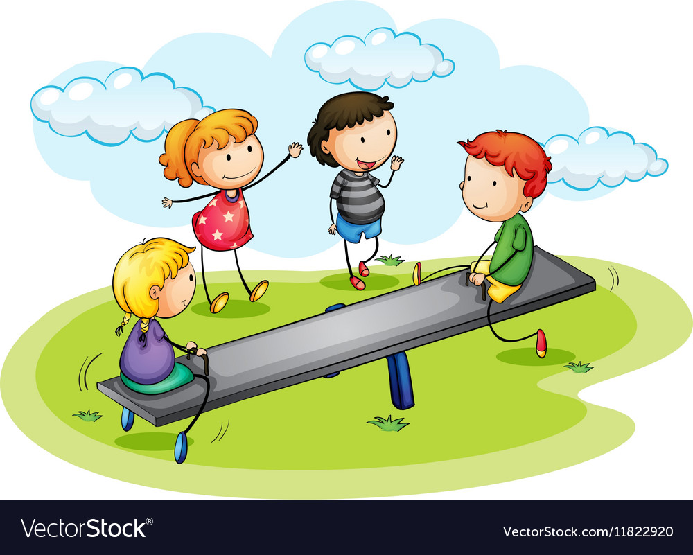 Boys seesaw clipart clip art download Kids playing seesaw in the park clip art download