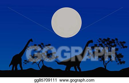 Brachiosaurus skeleton silhouette clipart clipart freeuse Vector Illustration - Silhouette of brachiosaurus at the night. EPS ... clipart freeuse