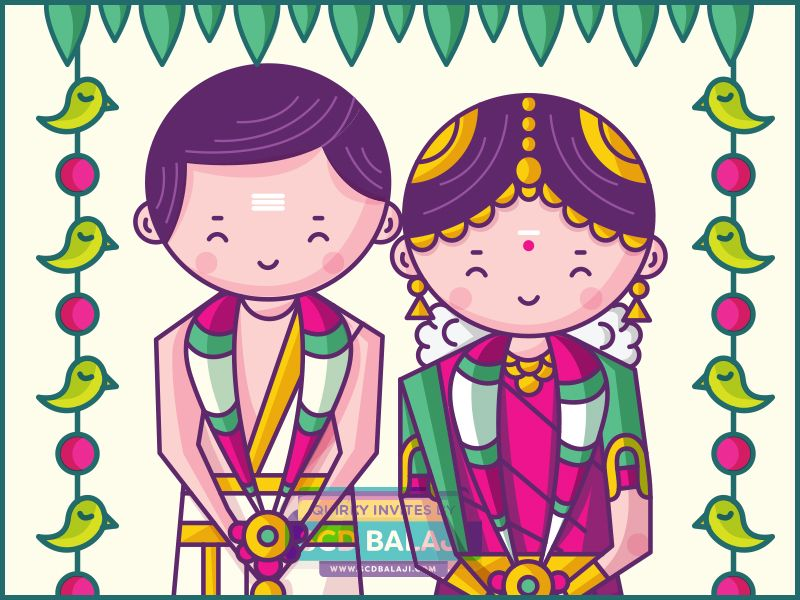 Iyengar traditional costume of tamil nadu clipart jpg library download Tamil Brahmin (Iyer) Wedding Invitation | creativity in 2019 ... jpg library download