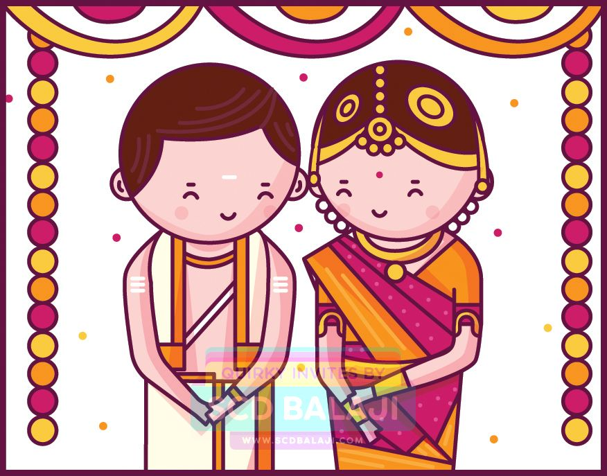 Brahmin indian clipart png freeuse Tamil Brahmin Iyer Wedding Invitation Illustration by SCD Balaji ... png freeuse