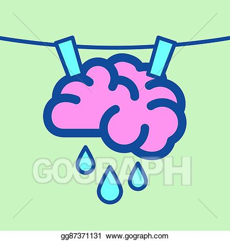 Brain as sponge clipart svg royalty free library EPS Vector - Drying wet brain on washing line. Stock Clipart ... svg royalty free library