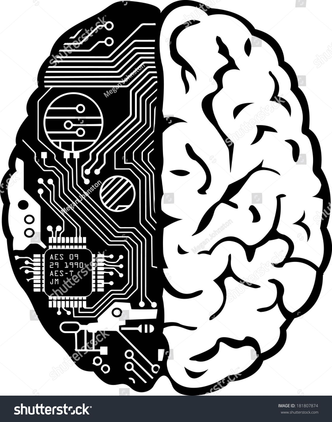 Brain filled black clipart image black and white stock Black and White Human Brain with Computer Circuit Board Vector ... image black and white stock
