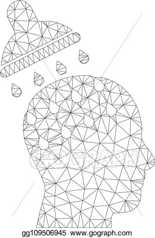 Brain nodes clipart clipart black and white EPS Vector - Mesh vector brain washing icon. Stock Clipart ... clipart black and white