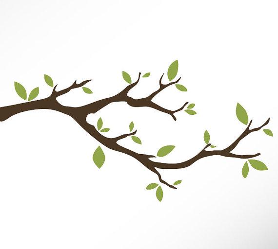 Branch clipart free jpg stock Tree Branch Vinyl Wall Decal Sticker Leaves Modern Contemporary ... jpg stock