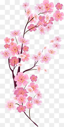 Branch with heart flowers png free clipart vector clip art royalty free download 2019 的 Vector Painted Pink Cherry Blossoms, Vector, Hand Painted ... clip art royalty free download