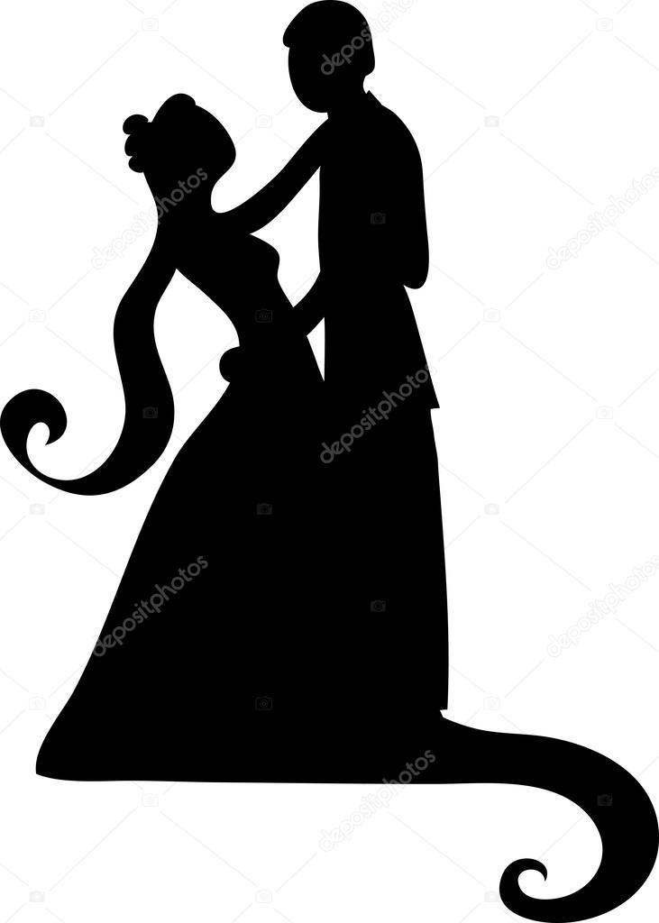 Braut und brutigam clipart banner royalty free ClipArt Illustration eines silhouetted Braut und Bräutigam tanzen ... banner royalty free