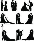 Braut und brutigam clipart image transparent Clip Art of Bride wedding fashion silhouette k19046997 - Search ... image transparent