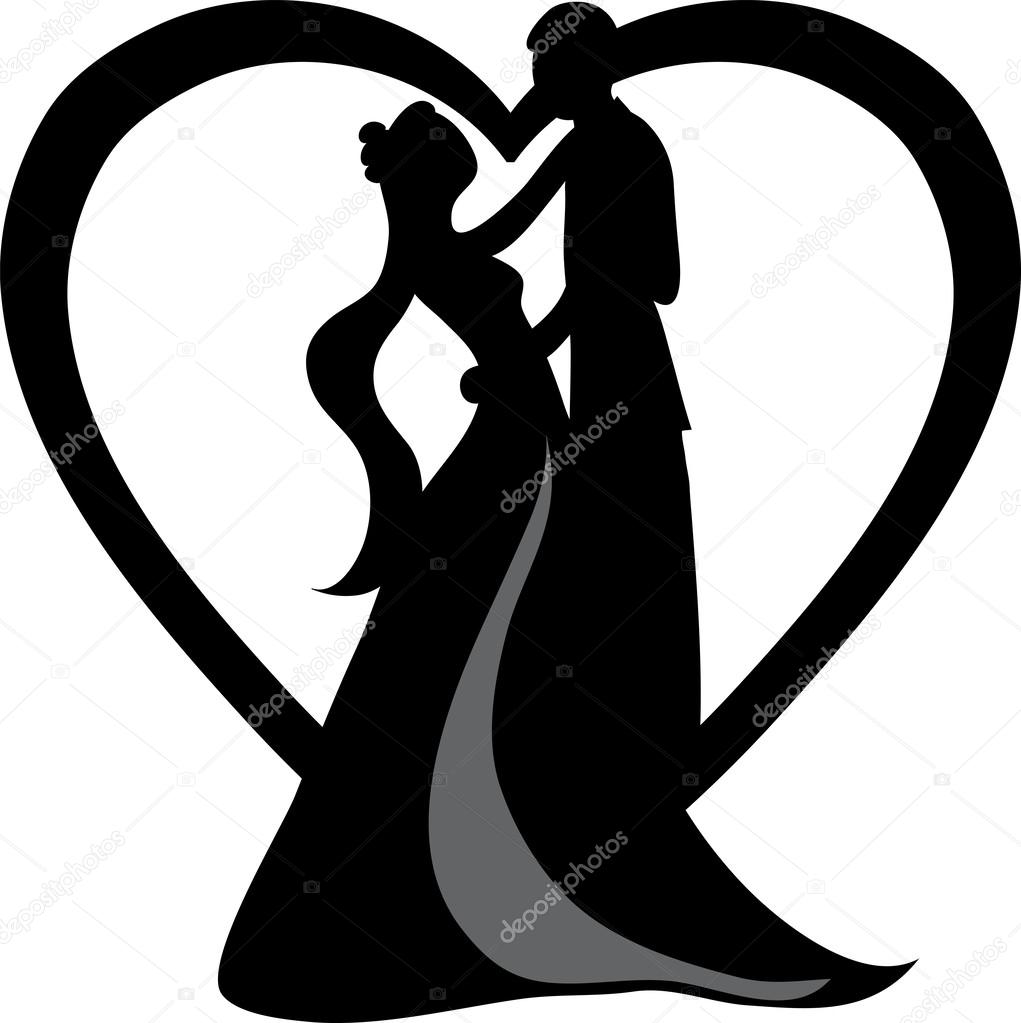 Braut und brutigam clipart picture library Clipart Illustration of a Silhouetted Bride and Groom Dancing ... picture library