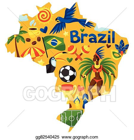 Brazil clipart with brazil written on it image stock Vector Stock - Brazil map with stylized objects and cultural symbols ... image stock