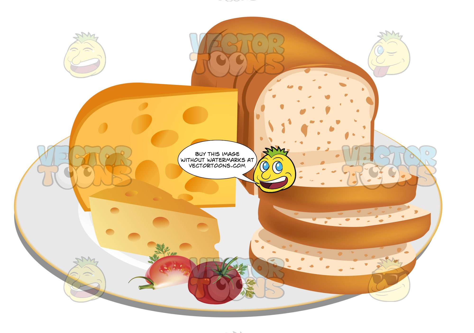 Cheese plater clipart jpg transparent download Sliced Loaf Of Bread With Cheese On A Plate jpg transparent download