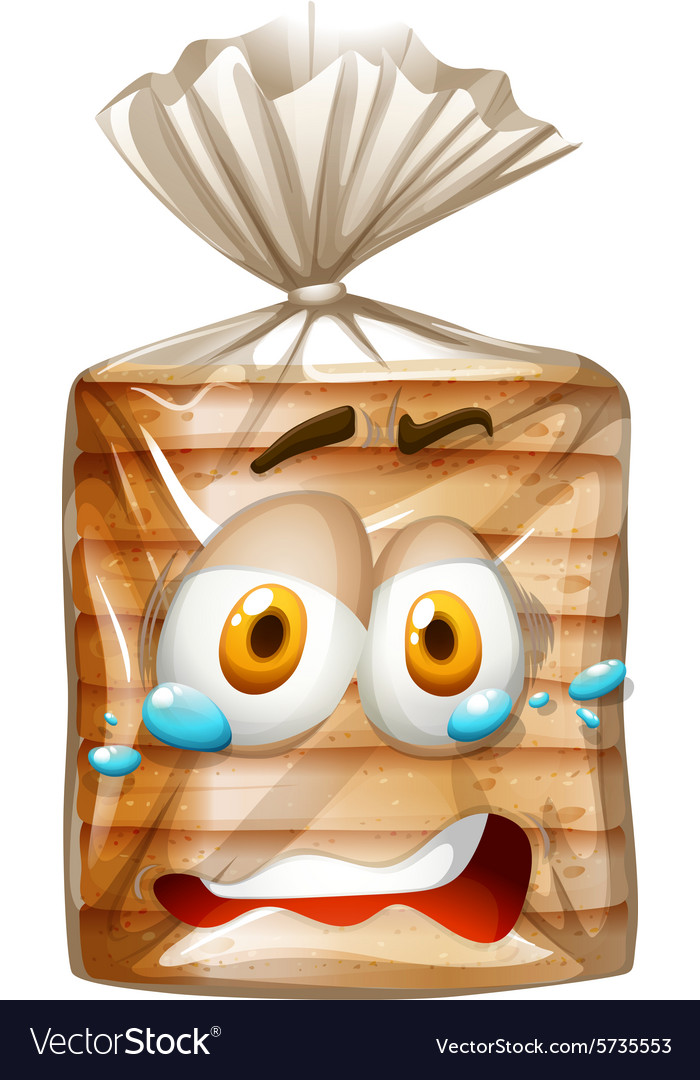 Bread clipart with face vector black and white library Bread package with scared face vector black and white library