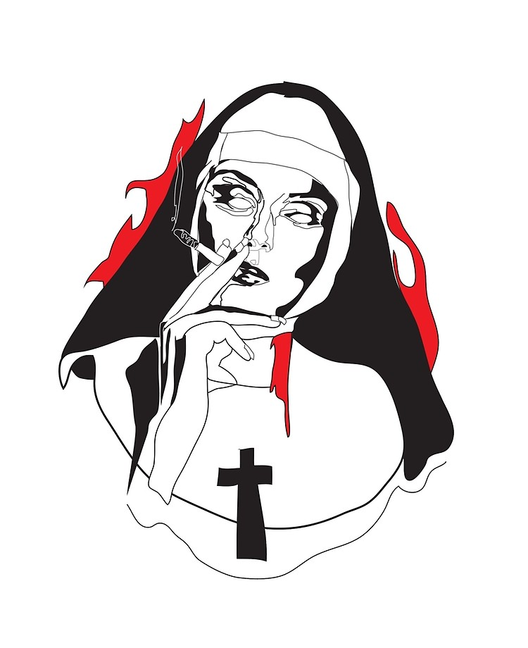 Break the habit of smoking clipart image Smoking Nun - Break the Habit | iPad Case & Skin image