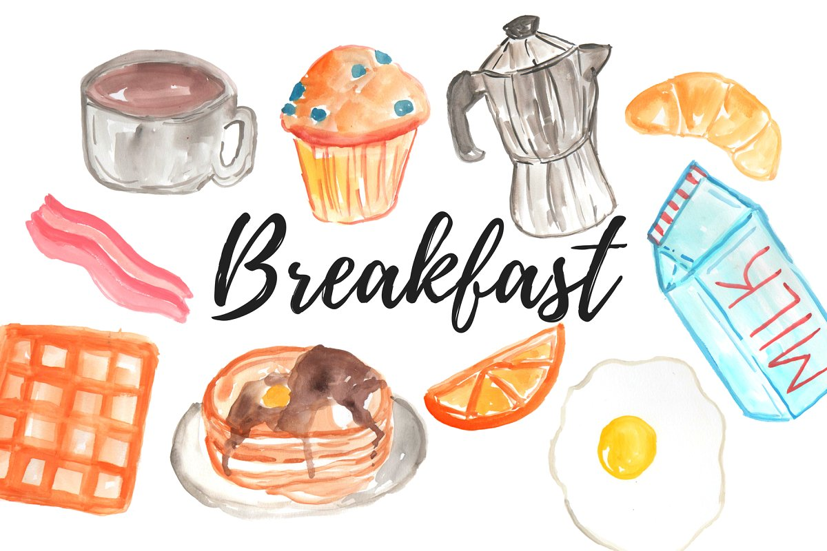 Breakfast clipart png library Watercolor Food Breakfast clipart png library