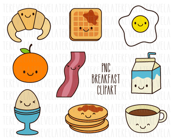 Breakfast clipart banner black and white library Breakfast clipart, food clipart, kawaii food, food clipart, eggs, bacon,  cute banner black and white library